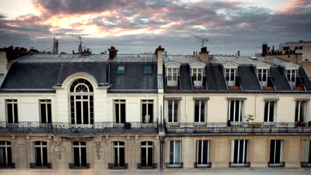rooftop cloud time lapse in paris 8th - balcony stock videos and b-roll footage