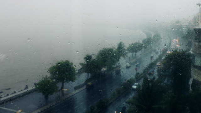 rooftop footage of marine drive mumbai during rain - b roll stock videos & royalty-free footage
