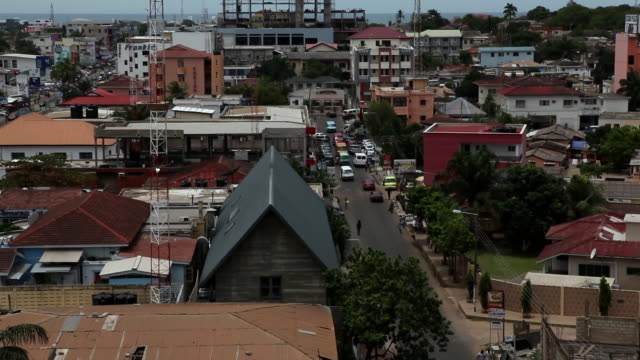 rooftop view of a city in accra, ghana - ghana stock videos & royalty-free footage