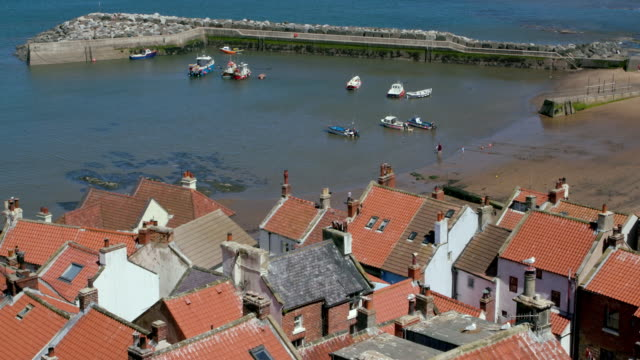 Rooftop View Of Houses And Harbour Staithes