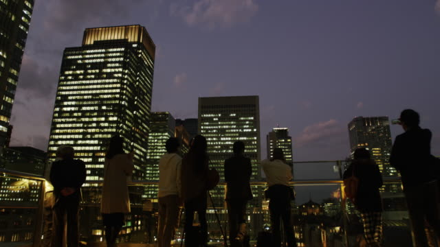 rooftop viewing terrace besides tokyo station - viewpoint stock videos & royalty-free footage