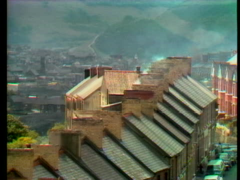 rooftops crowd the mining village of cwmtillery, wales. - environment or natural disaster or climate change or earthquake or hurricane or extreme weather or oil spill or volcano or tornado or flooding stock videos & royalty-free footage