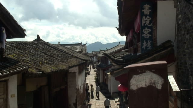 WS ZI CU Rooftops of houses in small town, Lijiang, China
