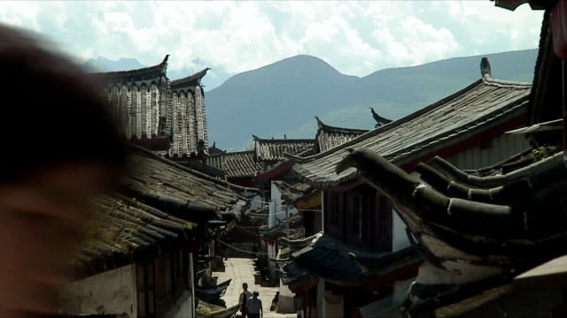 CU ZO WS Rooftops of houses in small town, Lijiang, China