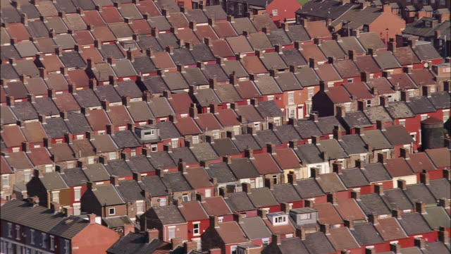 aerial, rooftops of residential district, liverpool, england - liverpool england stock-videos und b-roll-filmmaterial