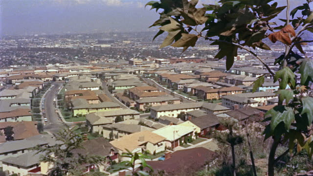 1955 montage ha ws rooftops of suburban houses / los angeles, united states - 1950 stock videos and b-roll footage