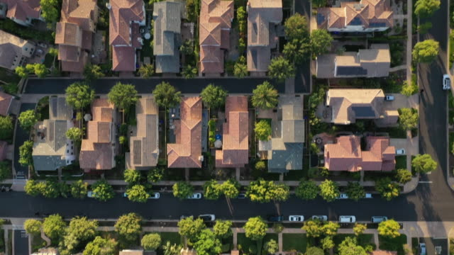 rooftops of suburban houses, overhead shot in san diego, california, u.s. on wednesday, september 2, 2020. - suburban stock videos & royalty-free footage
