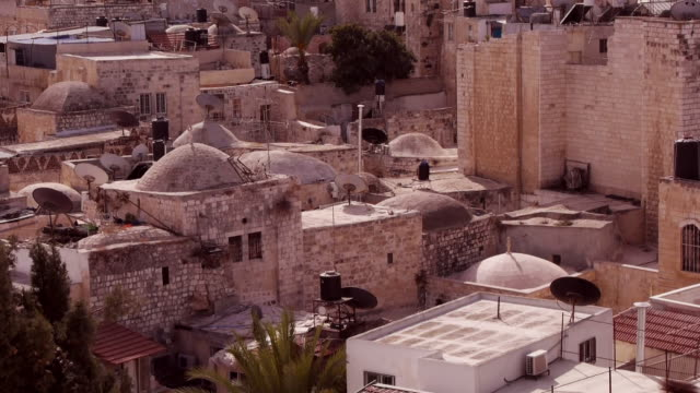 rooftops with domes in jerusalem old city - jerusalem old city stock videos and b-roll footage