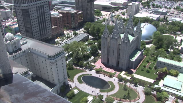 a rooftop-view overlooks temple square in salt lake city. - mormonism stock videos & royalty-free footage