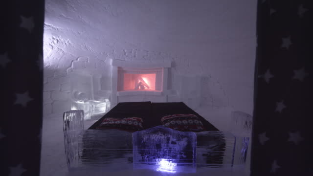 ws room in the ice hotel - northern europe stock videos & royalty-free footage