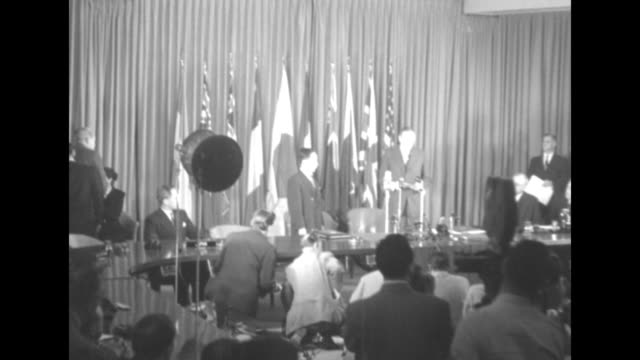 vs room packed with audience journalists and photographers with participants japanese charge d'affaires ryuji takeuchi united states secretary of... - treaty stock videos and b-roll footage
