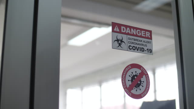 isolation ward covid-19 room - biohazard symbol stock videos & royalty-free footage