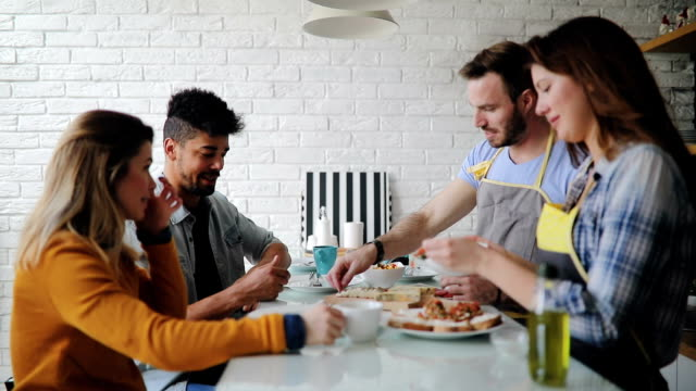roommates cooking together - brunch stock videos & royalty-free footage