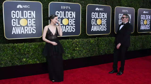 rooney mara and joaquin phoenix attend the 77th annual golden globe awards at the beverly hilton hotel on january 05 2020 in beverly hills california - joaquin phoenix stock videos & royalty-free footage