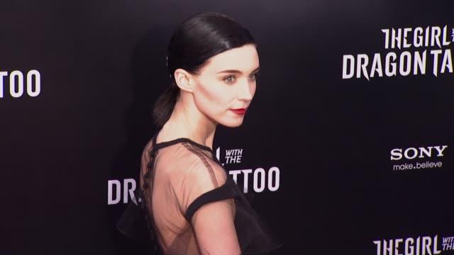 rooney mara at 'the girl with the dragon tattoo' new york premiere, new york, ny, united states, - tattoo stock videos & royalty-free footage