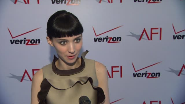 rooney mara on working with david fincher on 'the girl with the dragon tattoo' at afi awards 2012 luncheon in beverly hills ca on 1/13/12 - the girl with the dragon tattoo stock videos and b-roll footage