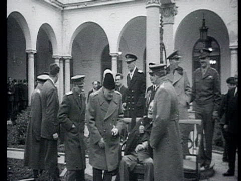 roosevelt churchill stalin sitting on bench outside surrounded by army officers / yalta crimea audio - 1945 stock videos & royalty-free footage