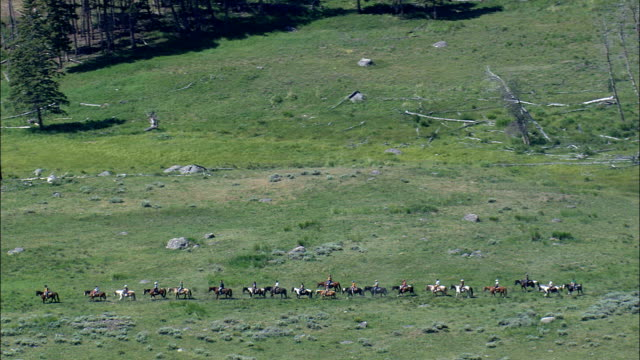 roosevelt lodge and a group of riders  - aerial view - wyoming,  park county,  helicopter filming,  aerial video,  cineflex,  establishing shot,  united states - yellowstone national park stock videos & royalty-free footage