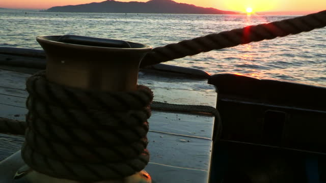 rope for boat pulled on ocean - rope stock videos & royalty-free footage