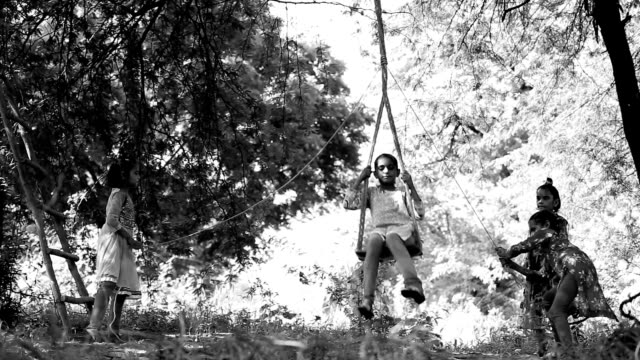 Rope swing on a tree during Teej festival