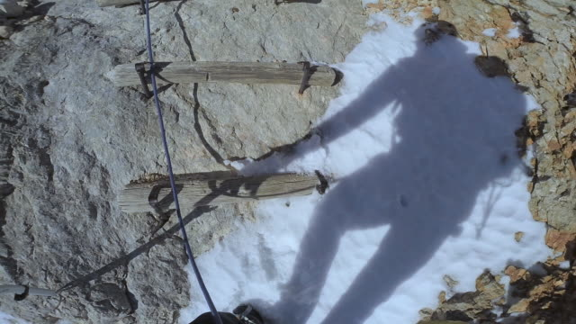 POV Rope team mountaineers climbing the mountain in winter