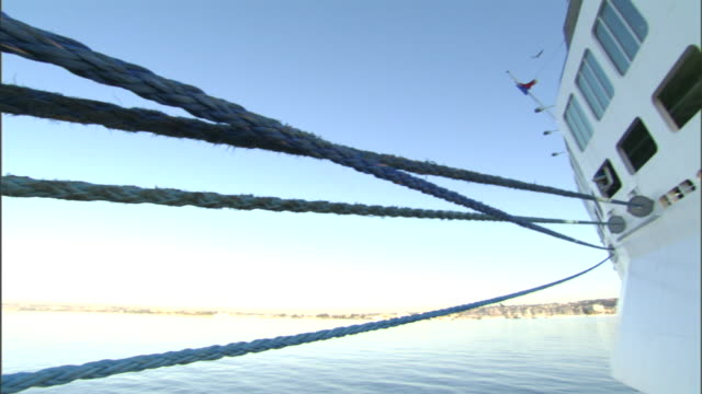 ropes stretch from a cruise ship. - passenger craft stock videos & royalty-free footage