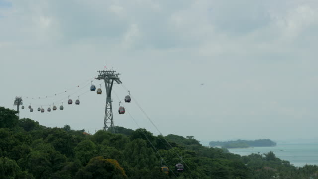 ropeway over the mountain across the sea - overhead cable car stock videos and b-roll footage