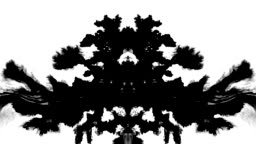 Rorschach test ink mask spreading inkblot over screen abstract background intro