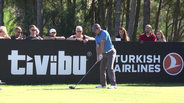 rory mcilroy of northern ireland in action ahead of the turkish airlines open at the montgomerie maxx royal golf club on october 28, 2015 in antalya,... - pgaイベント点の映像素材/bロール