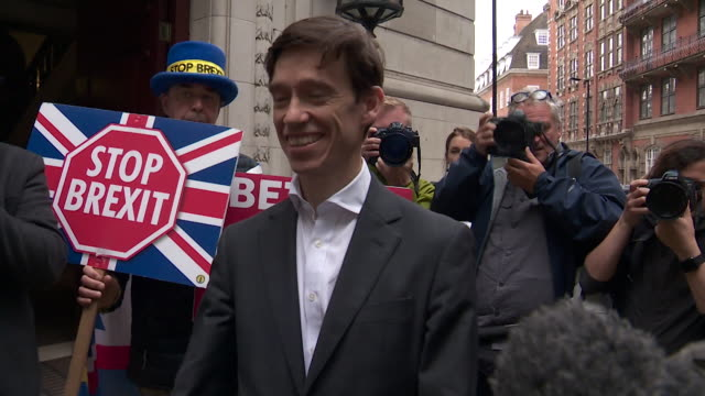 rory stewart conservative leadership contender knocked out in the third round of voting walks out of millbank offices to talk to the media - walking stock videos & royalty-free footage