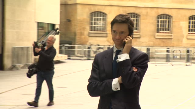 rory stewart on mobile phone outside bbc new broadcasting house as he announces he will run for conservative party leader - using phone stock videos & royalty-free footage