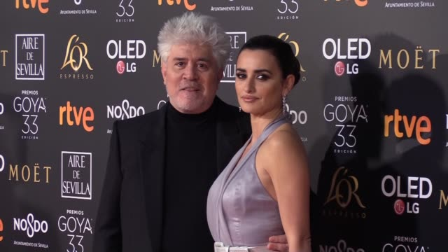 Rosalia Cristina Castano Amaia Romero Pedro Almodovar Penelope Cruz and Paz Vega attend the Goya Cinema Awards 2019 during the 33rd edition of the...