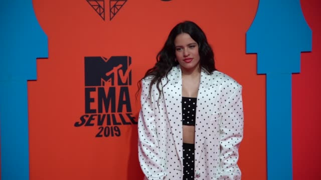rosalia poses at 26th mtv europe music awards on november 03, 2019 in seville, spain. - mtv europe music awards stock videos & royalty-free footage
