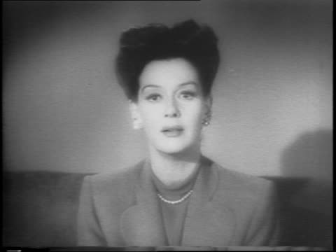 rosalind russell speaking on importance of buying war bonds to speed up the war effort - psa stock videos & royalty-free footage