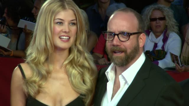 rosamund pike and paul giamatti at the 'barney's version' premiere 67th venice film festival at venice - rosamund pike stock videos & royalty-free footage