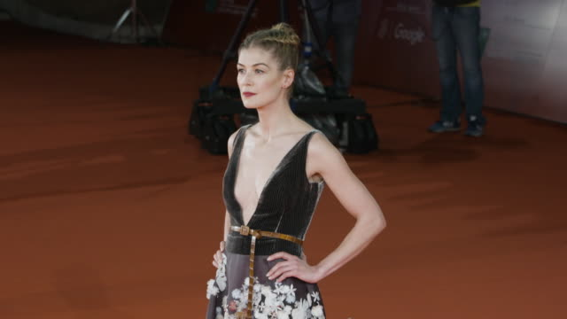 rosamund pike at 'hostiles' red carpet rome film fest on october 26 2017 in rome italy - rome film fest stock videos and b-roll footage