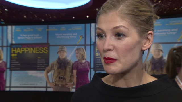 interview rosamund pike on being at the premiere the modern obsession of happiness london being her home working with simon pegg how she's going to... - rosamund pike stock videos & royalty-free footage