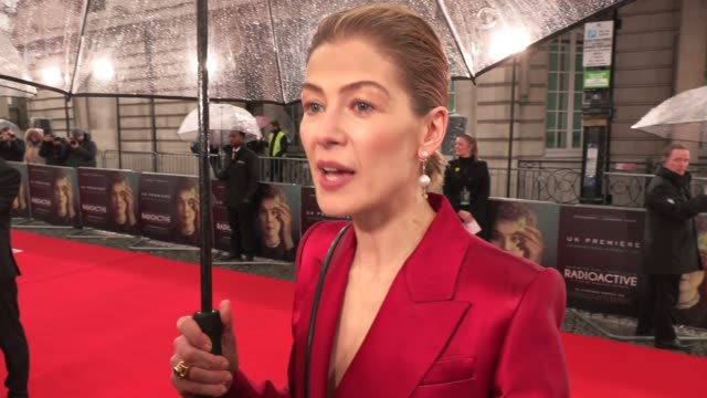 rosamund pike on feminism and how times are changing at 'radioactive' uk premiere on march 08, 2020 in london, england. - 4k resolution stock videos & royalty-free footage