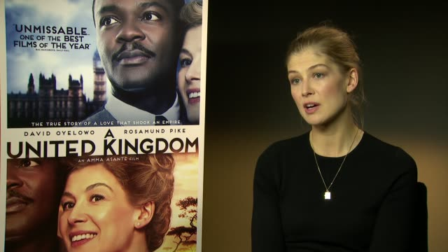 interview rosamund pike on the bravery of the couple her character being strong ruth williams botswana being on set the heat at 'a united kingdom'... - rosamund pike stock videos & royalty-free footage