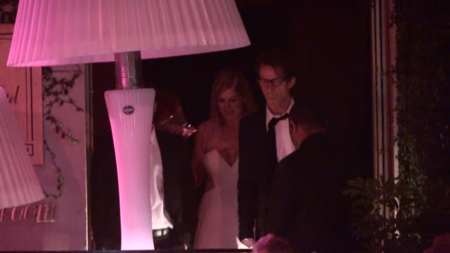 rosamund pike robie uniacke depart the caa party at the sunset tower in west hollywood in celebrity sightings in los angeles - rosamund pike stock videos & royalty-free footage