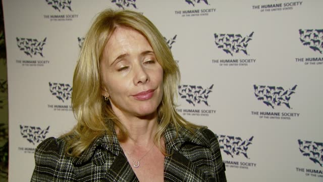 rosanna arquette on attending the event, on always being an animal advocate, and on the importance of supporting the humane society in light of... - rosanna arquette stock videos & royalty-free footage