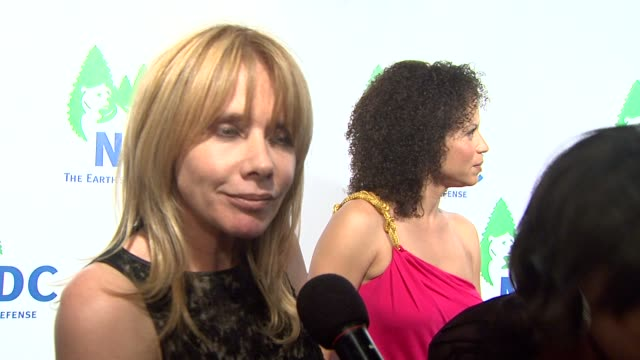 rosanna arquette on being the event's dj, on the event at the national resources defense council's 20th anniversary celebration at beverly hills ca. - rosanna arquette stock videos & royalty-free footage