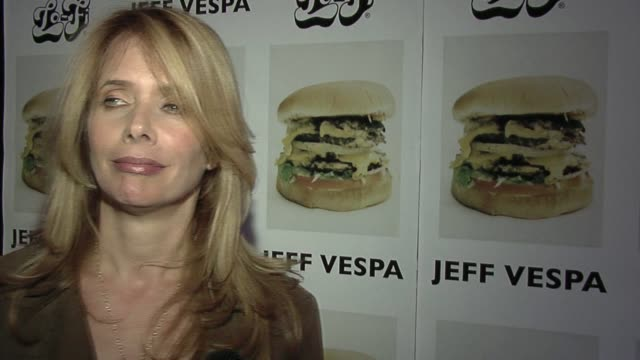 rosanna arquette on her friendship with jeff vespa, his talents, hosting the party, and her impression of the photos at the jeff vespa's eat me art... - rosanna arquette stock videos & royalty-free footage
