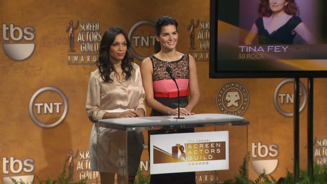 rosario dawson and angie harmon announce the 17th annual screen actors guild awards nominees at the the 17th annual screen actors guild awards... - angie harmon stock videos & royalty-free footage