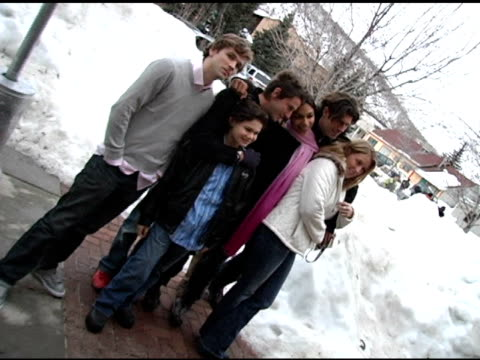 rosario dawson and the cast of 'this revolution' at the 2005 sundance film festival 'this revolution' premiere at the library theater in park city... - dawson city点の映像素材/bロール
