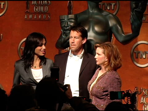 rosario dawson, james denton and melissa gilbert, president, sag at the 2005 screen actors guild sag awards nominations announcements at pacific... - melissa gilbert stock videos & royalty-free footage