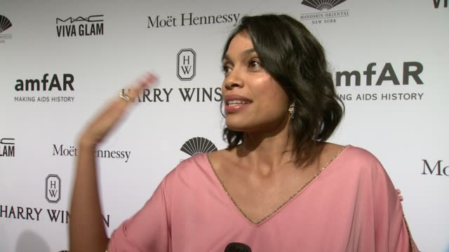 INTERVIEW Rosario Dawson on being honored and her mother's birthday at 2015 amfAR New York Gala at Cipriani Wall Street on February 11 2015 in New...