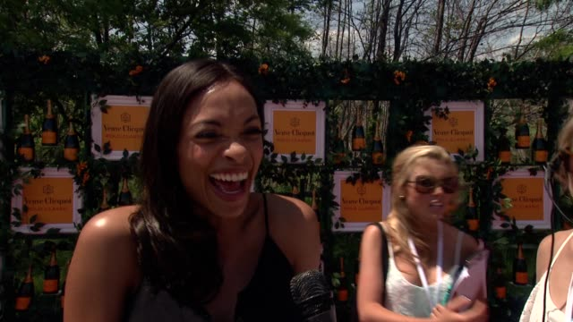 interview rosario dawson on how ready she is for this event on hurricane sandy's effect on this area on what she is wearing on her mother coming... - rosario dawson stock videos and b-roll footage