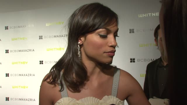 rosario dawson on what brings her out tonight being excited to see the new exhibition why it is so important to combine education and the arts her... - rosario dawson stock videos and b-roll footage