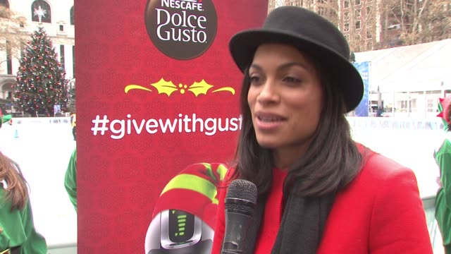 INTERVIEW Rosario Dawson on what is going on today on passing it forward being what the holidays are about talks about coming together with a cup of...